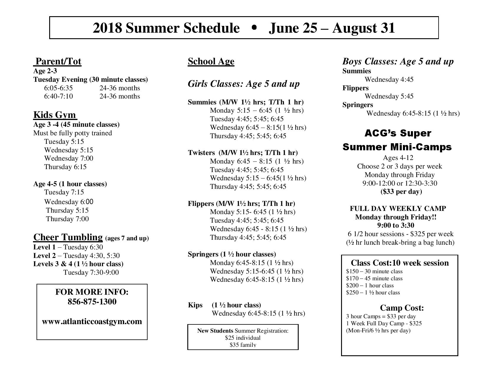 2018 Summer Schedule - Atlantic Coast Gymnastics